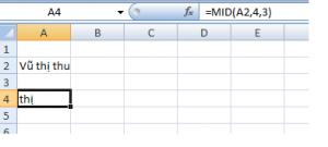 ví dụ hàm MID