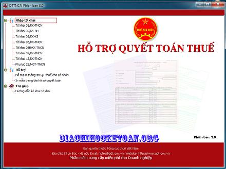 Phần mềm quyết toán thuế TNCN – QTTNCN